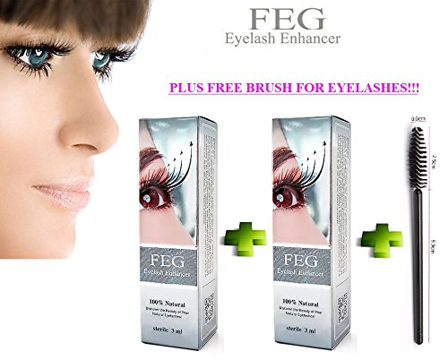 2 X BEST Eyelash Growth Product and Eyebrow Thickener. Most Effective Growth Serum with Conditioner used to LENGTHEN & THICKEN Eyelashes and Eyebrows; FEG is a Powerful Stimulator Treatment that Prevents Thinning & Breakage; Helps Promote Vitality & Strength. 100% Original with Anti-Fake sticker!!! + GIFT: BRUSH FOR EYELASHES !!!!