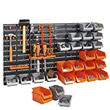 VonHaus 44 Pcs Wall Mount Storage Organiser Bin Panel Rack with Tool Holder and Hook Set