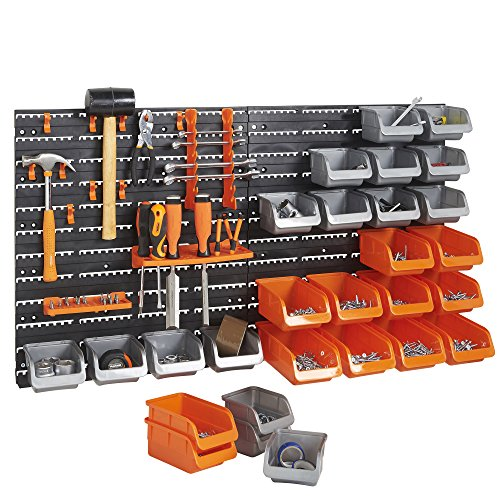 vonhaus-44-pcs-wall-mount-storage-organiser-bin-panel-rack-with-tool-holder-and-hook-set