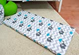 LHE Baby COT patterned fitted sheet size 120x60 & 140x70 100% cotton (140cm x 70cm, 11-GREY ELEPHANTS BLUE)