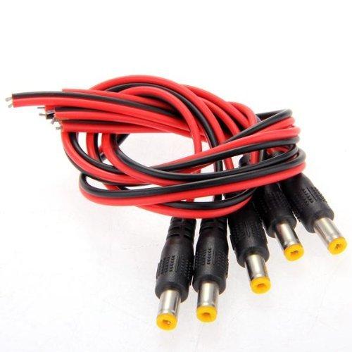5x DC Cavi Connettori Adattatori Spine Maschio 2,1x5,5mm per CCTV Videocamera