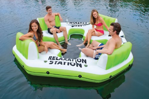 Intex Pacific Paradise Relaxation Station Water Lounge 4-Person River Tube Raft (Green)