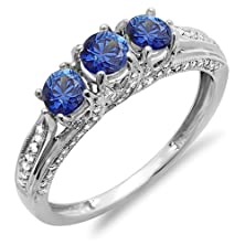 buy 18K White Gold White Diamond And Blue Sapphire Ladies Vintage Bridal 3 Stone Engagement Ring (Size 6)