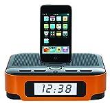 Chroma Docking Station Alarm Clock FM Radio, SD Card / USB Slot For Apple iPod iPhone 4 4S 5 5S 5C (Orange)