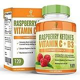 Cétones de framboise, avec vitamine C et niacine, pour régime et perte de poids pour hommes et femmes. Coupe-faim force maximale pour brûler les graisses et perdre du poids rapidement, 1000mg, 120 Capsules