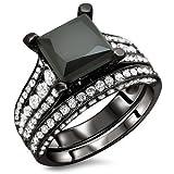 4.0ct Black Princess Cut Diamond Engagement Ring Wedding Band set 18k Black Gold Rhodium Plating Over White Gold