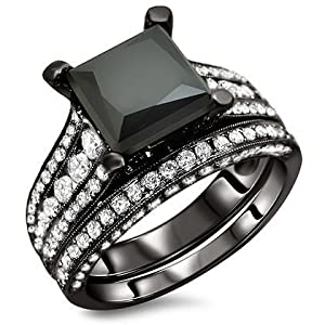 4.0ct Black Princess Cut Diamond Engagement Ring Wedding Band set 18k Black Gold