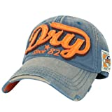 ililily Distressed Vintage Style Denim DRY Baseball Cap Pre-curved Bill and Embroidery on Front and Side with Adjustable Leather Strap Snapback Trucker Hat (ballcap-595-1)
