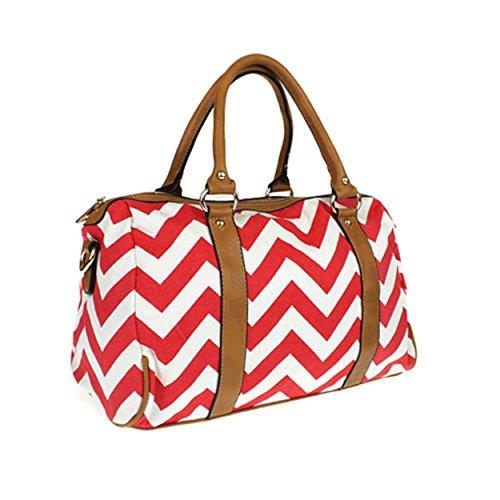 New Fashion 3Am Pp 5791 Chevron Fabric Satchel Red Women Handbag - 021 Swt