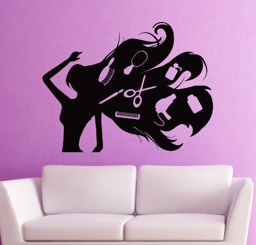 Wall Stickers Vinyl Decal Stylist Girl Dryer Scissors Hair Salon Barbershop (Ig204) front-13947