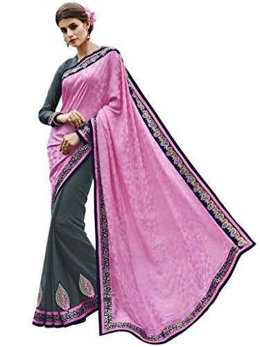 Melluha Pink & Grey Fancy Jacquard And Georgette Half And Half Designer Sarees