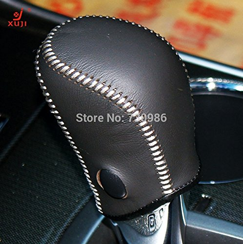 Black Genuine Leather Gear Shift Knob Cover for 2013 2014 2015 2016 Nissan Altima / 2014 2015 2016 Nissan Rogue / 2013 2014 2015 Nissan Sentra / 2013 2014 2015 Nissan Pathfinder Automatic (Stick Shift Knob Nissan Altima compare prices)