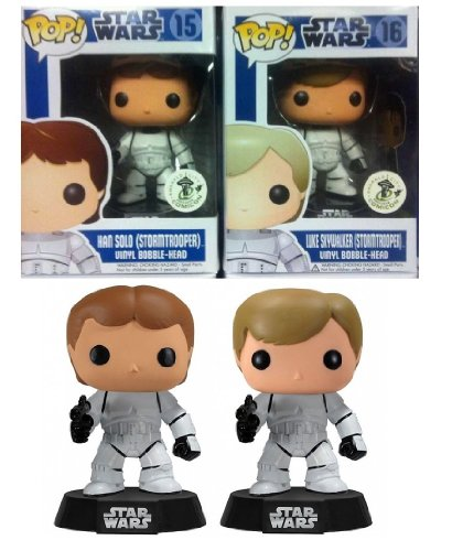 2012 SDCC POP! Funko Vinyl Bobble-head Star Wars Limited Edtion Set Luke Skywalker + Han Solo Stormtrooper Disguise Figure Comic-Con Exclusive ECCC