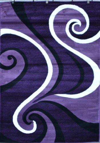 0327 Purple Black White 5'2x7'2 Area Rug Abstract Carpet