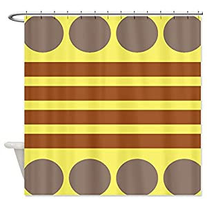 Cafepress Yellow Brown Grey Color Block Shower Curtain Standard White Home Kitchen