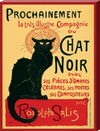 Art Nouveau Large Canvas Print featuring The Iconic Advertising Image for 'Le Chat Noir' Cabaret Nightclub by Theophile Alexandre Steinlen 60x80cm