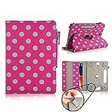 Casezilla Binatone HomeSurf 744 7 Inch Tablet 360 Degrees Universal PU Leather Tablet Case - Pink Polka Dots