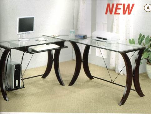 Buy Low Price Comfortable Coaster L-Shape Home Office Computer Desk, Cappuccino Finish Base, Glass Top (B001HFB6MS)