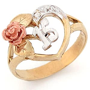 10k Tri-color Gold 15 Anos Quinceanera Red Rose CZ Ring