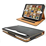 IVERSON branded black & tan iPad 4 leather wallet cover case compatible with iPad 2 and iPad 3