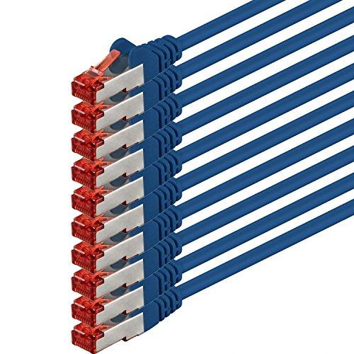 1aTTack cavo di rete Patch Cat6PiMF SSTP, con 2connettori RJ45doppia schermatura, confezione da 5 - blau - 10 Stück 0,5 metri