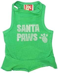 The Dog Squad Big Santa Paws Dress Christmas T-Shirt for Pets, Large, Green