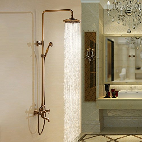 Bathroom Luxury Dual Handles With Hand Shower Mixer Tap Wall-Mounted Rainfall Shower Faucet United .Antique Brass Y47847 front-473029