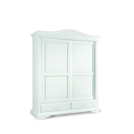 CLASSICO armadio Shabby Chic bianco 2 ante scorrevoli e cassetti guardaroba 180x67x225 1398