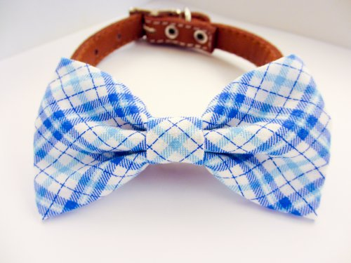 Dog or Cat Slide on Handcrafted Bow Tie Collar Accessory - Baby Blue Plaid Fine Japanese Cotton