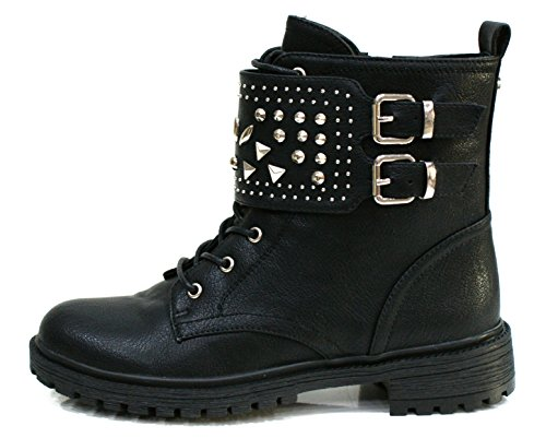 Gaudi Anfibio Donna Valentina Zip Borchie Leather Black_35