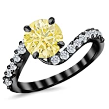 buy 1.51 Carat 14K Black Gold Twisting & Curving Diamond Engagement Ring With A 1 Carat Natural Untreated Yellow Diamond Center (Heirloom Quality)