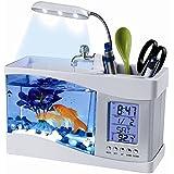 Flexzion USB Desktop Aquarium Mini Fish Tank with Running Water LCD Time Clock Alarm Colorful LED Lamp Light Calendar Holds 1.5 Quart for Home Office Decor