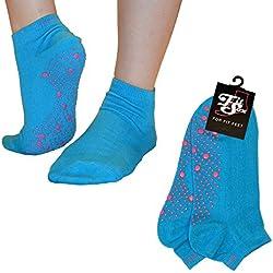 Pilates, Yoga, Arti marziali, fitness, danza, Barre. Antiscivolo / antiscivolo, Cadute Prevenzione (Blu / Rosa) Grip Socks