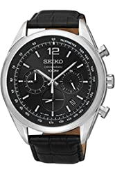 Seiko SSB097P1 Men's Chronograph Black Dial Stainless Steel Case & Black Leather Strap SSB097