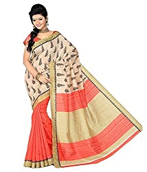 GoGalaxy Fashion Woman's unstiched party wear collection Orange Bhagalpuri Silk Printed Free Size Full Saree at Low Price