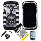 4 items Combo: ITUFFY(TM) LCD Screen Protector Film + Mini Stylus Pen + Case Opener + Silver Black Greyish Tree Skull Design Rubberized Hard Plastic + Black Soft Rubber TPU Skin Dual Layer Tough Hybrid Case for Huawei Ascend Y M866/ H866 / H866C (Straight Talk / U.S.Cellular)