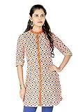 Striyam Women's Cotton A-Line Kurta (SC-49_Orange_Medium)