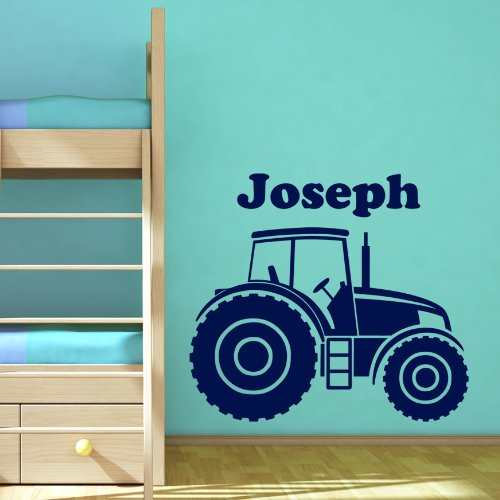Personalised Tractor Farm Vehicle Boys Name Door or Wall Sticker - Art Vinyl Decal Stickers, Childrens Bedroom, Easy to Apply, Free Applicator, Easy Peel, Please Message Us With Your Required Name - (PLEASE CHOOSE YOUR SIZE & COLOUR USING DROP DOWN MENU)