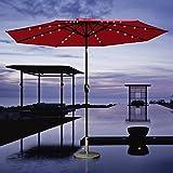 COBANA 9-Feet 32 Solar Powered LED Lighted Umbrella, Red