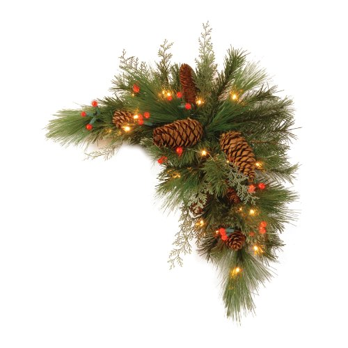 National Tree Dc13-116-30Cb-1 Decorative Collection White Pine Corner Swag With 63 Soft White And Red Led Battery Operated Lights, 30-Inch