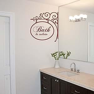 Bathe la toilette vinyl bathroom wall decal for Bathroom paintings amazon