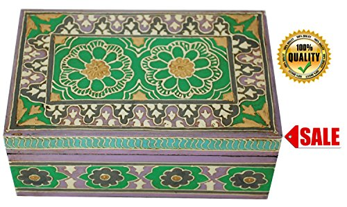 **Special Price** SouvNear Premium Quality Beautiful Distressed Look Wooden Jewelry Treasure Chest / Keepsake Box Hand-Painted Green Decorative Storage Box