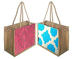 Foonty tote women pack of two small jute lunch bags(FFFWB5006)