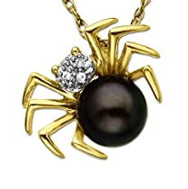 10k Yellow Gold Gray Pearl & Diamond Spider Pendant (1/100 cttw, I-J Color, I3 Clarity), 18''