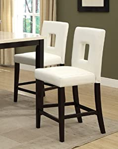 Counter Height Stools Amazon : Amazon.com - White Leather Counter Height Stools Set of 2 Parson High ...