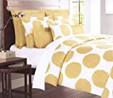 Max Studio 3pc King Duvet Cover Set Cotton Large Ikat Polka Dot Mustard Yellow White