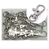 Rockin Beads Brand, 20 Nickle Plated Lobster Claw Swivel Clasps for Key Ring 1 3/8 X 1/2 Inch