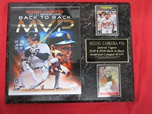 Miguel Cabrera Detroit Tigers BACK to BACK MVP 2 Card Collector Plaque w 8x10 Photo! by J & C Baseball Clubhouse