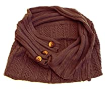 "AllyDrew - Buttons Winter Tube Scarf (16""L x 18""H), Brown"