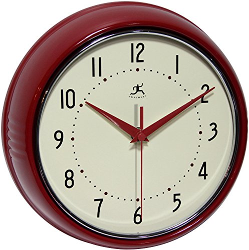 Infinity Instruments Retro Round Metal Wall Clock, Red (Retro Wall Clock Red compare prices)